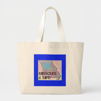"""Missouri 4 Life"" State Map Pride Design Large Tote Bag"