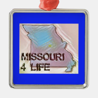 """Missouri 4 Life"" State Map Pride Design Metal Ornament"