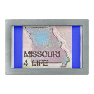 """Missouri 4 Life"" State Map Pride Design Rectangular Belt Buckles"