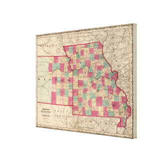 Missouri and Kansas Stretched Canvas Print