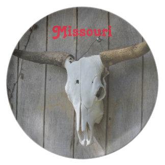 Missouri Bull Skull Melamine Plate