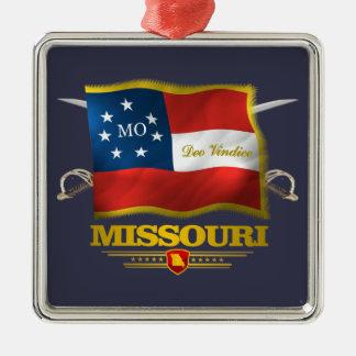 Missouri Deo Vindice Silver-Colored Square Ornament