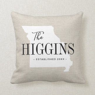 Missouri Family Monogram State Throw Pillow