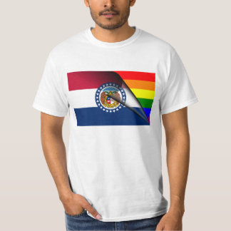 Missouri Flag Gay Pride Rainbow T-Shirt