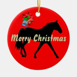 Missouri Foxtrotter Silhouette Merry Christmas Ceramic Ornament