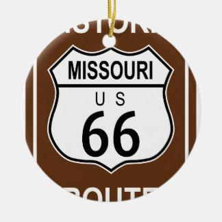 Missouri Historic Route 66 Round Ceramic Ornament