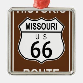 Missouri Historic Route 66 Silver-Colored Square Ornament