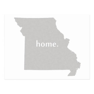 Missouri home silhouette state map postcard