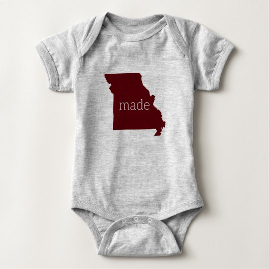 Missouri Made Baby Bodysuit {Maroon and Grey}