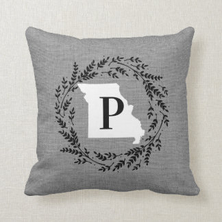 Missouri Rustic Wreath Monogram Throw Pillow