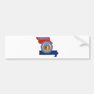Missouri State Flag and Map Bumper Sticker