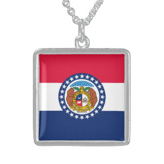 Missouri State Flag Design Sterling Silver Necklace