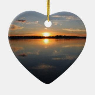 Missouri Sunset Ceramic Heart Ornament