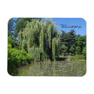 Missouri Weeping Willow on Pond Rectangular Photo Magnet