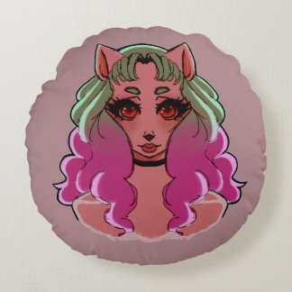 Missy Meowmaid Round Pillow