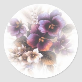 Misted Purple Pansies Classic Round Sticker