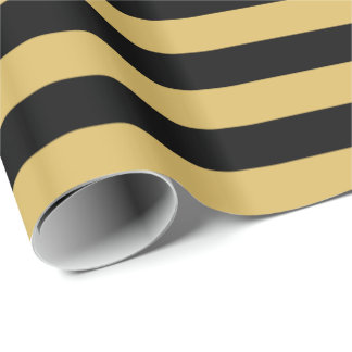 Misted Yellow/Black Stripe Wrapping Paper