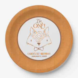 Mister Fox First Birthday Personalized Paper Plate