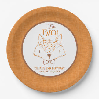 Mister Fox Second Birthday Personalized Paper Plate
