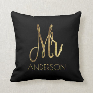 Mister Mr. Gold Look Typography Add Name Throw Pillow