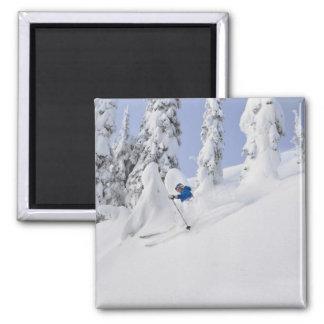 Mistie Fortin skis powder Square Magnet