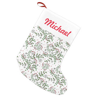 Mistletoe And Snowflake Pattern Small Christmas Stocking