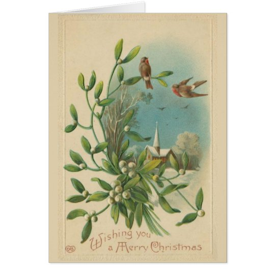 Mistletoe Bird Christmas Card