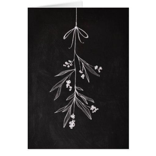 Mistletoe Chalkboard Art Holiday Card