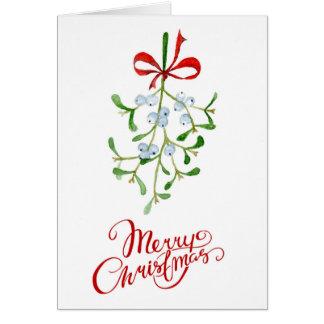 Mistletoe Christmas Card in Watercolour