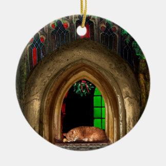 Mistletoe Church Cat Ceramic Ornament