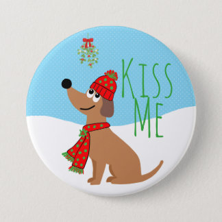 Mistletoe Dog Kisses Large, 3 Inch Round Button