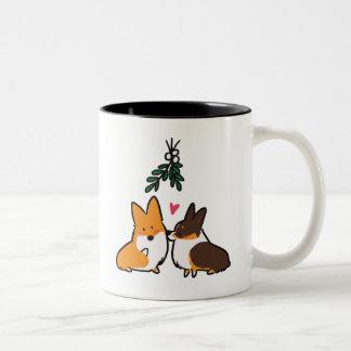 Mistletoe Kiss Corgi Mug