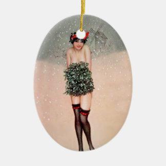Mistletoe Miss Ceramic Ornament