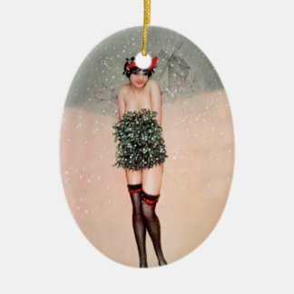 Mistletoe Miss Ceramic Oval Ornament