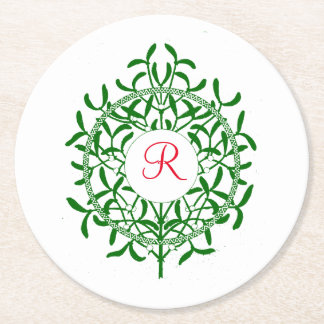 Mistletoe Monogram Your Colors Personalize Round Paper Coaster