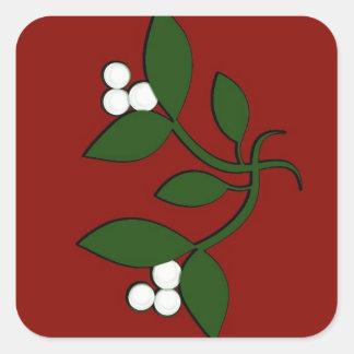 Mistletoe on Maroon Square Sticker