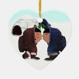 Mistletoe Time - Mistletoe Kissing Eskimos Ceramic Ornament
