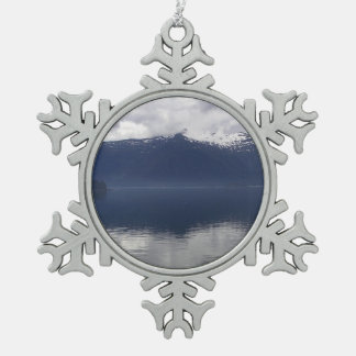 Misty Alaskan Sea in Beautiful Shades of Blue Snowflake Pewter Christmas Ornament