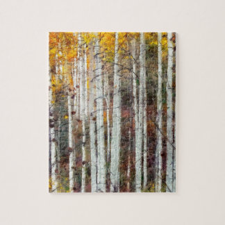 Misty Birch Forest Jigsaw Puzzle