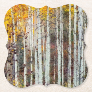 Misty Birch Forest Paper Coaster