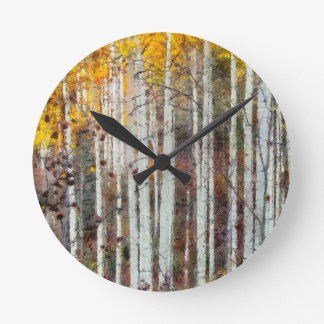 Misty Birch Forest Round Clock
