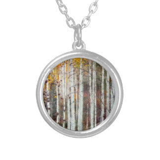 Misty Birch Forest Silver Plated Necklace