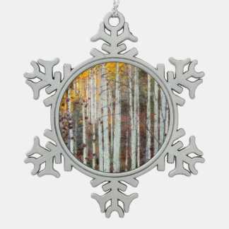 Misty Birch Forest Snowflake Pewter Christmas Ornament