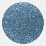 Misty blue glitter round sticker