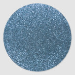 Misty blue glitter round stickers