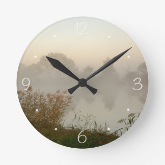 Misty canal morning round clock