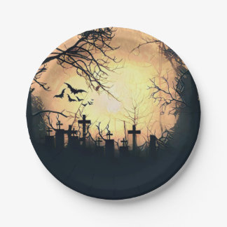 Misty Cemetery Paper Plate 7 Inch Paper Plate