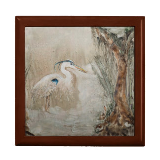 "Misty Cove 7.125"" Square w/6"" Tile Box, Golden Oak Gift Box"