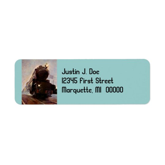 Misty Evening Train Railroad Return address Label