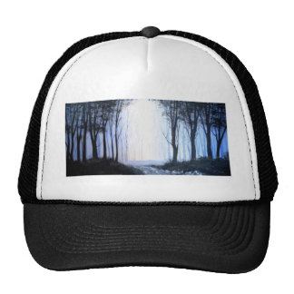 misty foggy forest trucker hat
